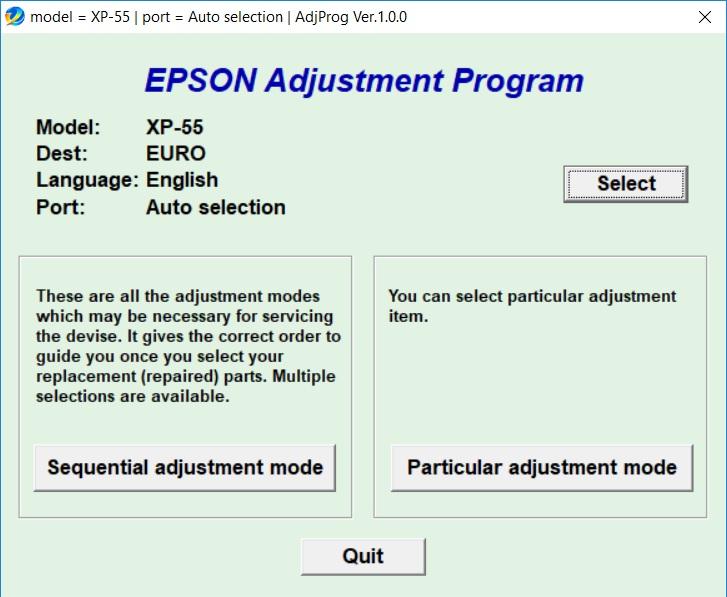 نرم افزار ریست اپسون EPSON Expression Photo XP55