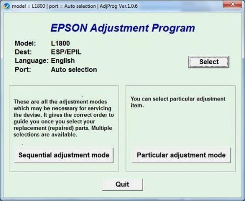 نرم افزار ریست EPSON L1800