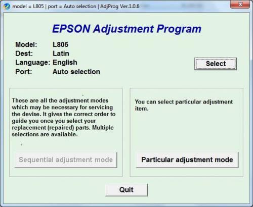 نرم افزار ریست EPSON L805