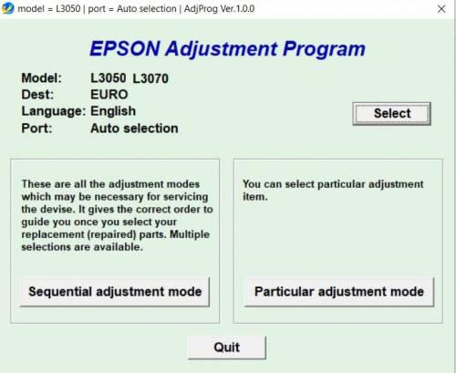 نرم افزار ریست EPSON L3050/L3070